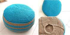Crochet Turquoise Maya's Pouf project. [Free Pattern]. Fill poufs with t-shirts and other stained clothes and fabrics we don't use any more. This works great and saves the landfills from more fill.