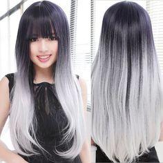 Gris plata peluca naturaleza Straight pelo largo pelucas