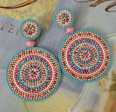 Beadwork Disc Earrings  Turquoise Sand Multicolored by WorkofHeart, $50.00