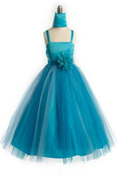 Sweet Satin Dress w/ Spaghetti Straps and Removable Flower Girl Tulle Dress