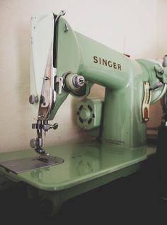 Vintage Singer sewing machine #green #singer #sewing