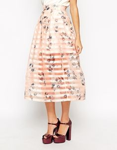 Dahlia Midi Skirt In Floral and Sheer Stripe Organza