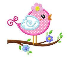 Flower bird on a tree applique machine embroidery design