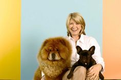 Martha Stewart with her dogs Paw Paw and Francesca