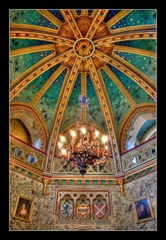 Castell Coch (Red Castle) near Cardiff Art And Architecture, Architecture Details, Beautiful Buildings, Beautiful Places, Ceiling Art, Starry Ceiling, Castle Wall, Tower House, Victorian Gothic
