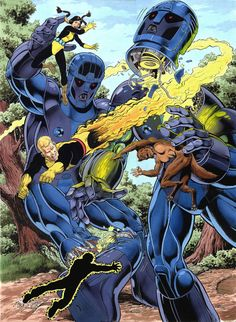 New Mutants vs Sentinels by Bob McLeod