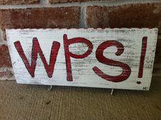 WPS keyholder... woo pig sooie..arkansas razorbacks..painted reclaimed wood. $18.00, via Etsy.