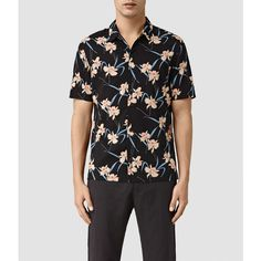 AllSaints Aaru Short Sleeve Shirt (€65) ❤ liked on Polyvore featuring men's fashion, men's clothing, men's shirts, men's casual shirts, black, mens casual short-sleeve button-down shirts, mens casual short sleeve shirts, mens cotton shirts and mens short sleeve shirts