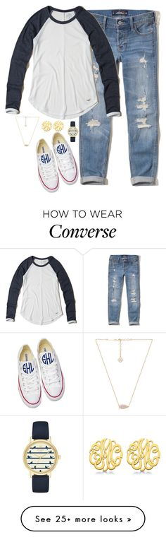 """""""Don't know how I feel about this one."""" by keileeen on Polyvore featuring Hollister Co., Kendra Scott, Converse, Kate Spade and Allurez"""