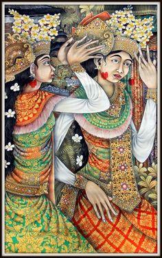 "Bali Painting""Balinese Dancers"" Amazing Detail !!   39"" high x 23.5"" wide #Ubud"