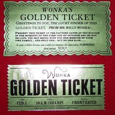 Golden Ticket from Willy Wonka and Charlie and the by CreativePal, $25.00