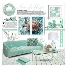 """Sea of Mint"" by sassyfashionista-101 ❤ liked on Polyvore featuring interior, interiors, interior design, home, home decor, interior decorating, Mint Velvet, Modernica, Lalique and Vagabond House"