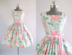 Vintage 1950s Dress / 50s Cotton Dress / Pink and Green Cross