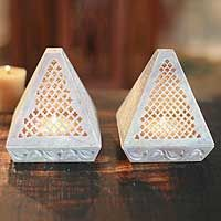 Soapstone candleholders, 'Lace Pyramid' (pair) $49.46