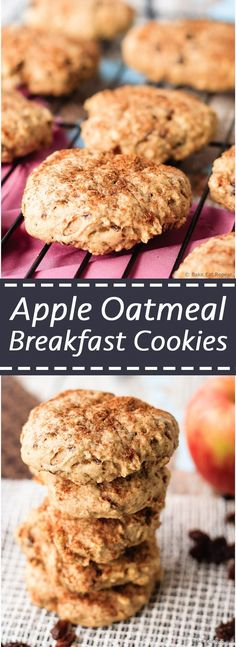 Apple Oatmeal Breakfast Cookies - Soft apple oatmeal breakfast cookies that are a hit with the kids! The perfect healthy snack for the lunchbox, or as an on-the-go breakfast! (healthy snacks for kids lunchbox) Oatmeal Breakfast Cookies, Breakfast Cookie Recipe, Breakfast Biscuits, Oatmeal Apple Cookies, Baked Oatmeal Cups, Vegan Oatmeal, Baby Food Recipes, Dessert Recipes, Cooking Recipes