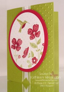 """Stampin' Up! Wildflower Meadow stamp set; Whisper White, Old Olive, Raspberry Ripple card stocks; Pear Pizzazz and Raspberry Ripple inks; Big Shot Perfect Polka dot and Wildflower Meadow embossing folders, and Ovals Collection Framelit dies; Whisper White 5/8"""" Organza ribbon; Paper- Piercing mat, tool, and Occasions Paper-Piercing Pack; and Pearl basic jewels."""