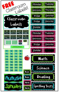 Free classroom labels to keep your classroom organized! Turquoise, lime green, black, and pink color scheme.