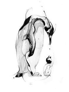 Alexis Marcou Fuel Penguins Gicleé Fine Art Print - x Pinguin Drawing, Pinguin Tattoo, Art Et Illustration, Illustrations, Penguin Art, Penguin Parade, Fine Art Prints, Canvas Prints, Ink Drawings