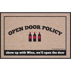 High Cotton Doormat, Open Policy Wine $19.99 #bestseller