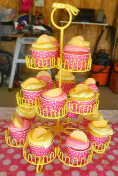 Cupcakes at a  Pink Lemonade Party #pinklemonade #party