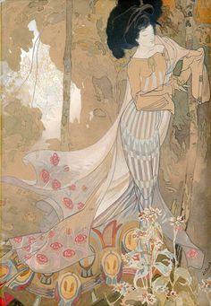 Autumn flowers, Georges de Feure. French Painter, Printmaker (1868-1943)
