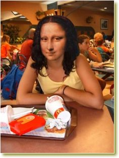McDonalds Mona - memories of the time my mums parents bought my dad a Mona Lisa paperweight - the rage he flew into - paperweight in the bin - he ranted for hours - not he best Christmas day.He also hate Mc.D's - so perfect! Photomontage, Lisa Gherardini, Illustration Photo, Illustrations, La Madone, Mona Lisa Parody, Mona Lisa Smile, Italian Artist, Oeuvre D'art