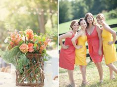 Alternating bridesmaid dresses. Mango orange and a diff color though.