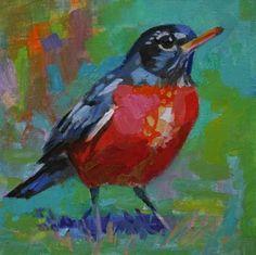 """Elizabeth Blaylock: """"Round Red Robin"""", oil."""
