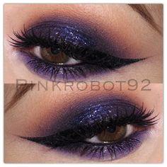 purple smokey eye w/ orange crease + black winged liner @pinkrobot92 #eyeliner makeup