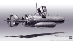 CAPTAIN AMERICA: THE FIRST AVENGER. Design drawing for the Hydra Submarine. The drive system later changed to a water jet propulsion. Design: Daniel Simon for MARVEL STUDIOS
