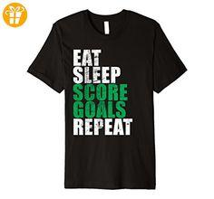 Eat Sleep Score Goals Repeat T-Shirt Hockey Footbal Soccer Herren, Größe 2XL Schwarz (*Partner-Link)