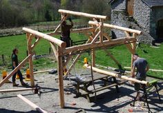Building a roundwood timber framed shelter for the cob oven at Denmark Farm