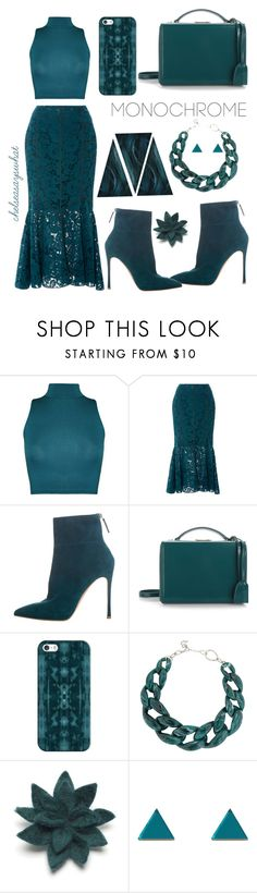 """Monochromatic Teal"" by chelseasayswhat ❤ liked on Polyvore featuring WearAll, Marissa Webb, Gianvito Rossi, Mark Cross, Casetify, DIANA BROUSSARD, Felt So Good and Wolf & Moon"
