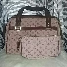 Louis Vuitton handbag &  clutch set Josephine style. Handbag and mini clutch, can be used for makeup, wallet etc. No rips or tears. Handbag is in good condition. Can use a cleaning and would be brand new again. Mini clutch is in excellent condition. Considering reasonable offers. Authentic!! Louis Vuitton Bags Satchels