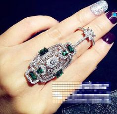 Luxury Charm Rhinestone Hollow Out Armor Flexible Knuckle Finger Joint Ring #Unbranded #Statement