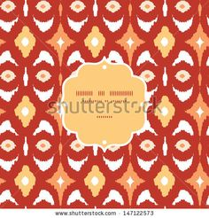 Red and gold ikat geometric frame seamless pattern background - stock vector