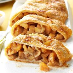 Caramel Apple Strudel Recipe -My father, who was born and raised in Vienna, Austria, would tell us stories about how his mother covered all of the kitchen counters with dough whenever she made apple strudel. This recipe is a modern, delicious way to carry on part of my family's heritage. —Sarah Haengel, Bowie, Maryland