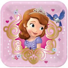 """Amscan // Sofia the First Square Paper Dessert Plates, 7"""" 