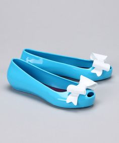 Take a look at this Turquoise & White Cerise Peep-Toe Flat by Venettini on #zulily today!