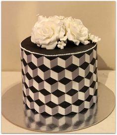 Optical illusion cake - Cake by House of Cakes Dubai Cakes To Make, How To Make Cake, Unique Cakes, Creative Cakes, Beautiful Cakes, Amazing Cakes, Quilted Cake, Geometric Cake, Single Tier Cake