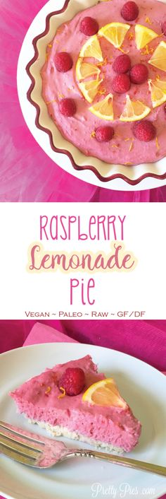No food coloring needed for this pretty pink raspberry lemonade pie! It's 100% naturally colored with fruit and made with healthy whole foods!