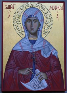 St. Monica hand painted orthodox icon by Georgi Chimev