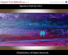 Art Original Birds on Wire Painting Landscape by QiQiGallery
