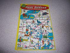 S Paul Bunyan Pictorial Antique Map By RD Handy Maps - Paul bunyun in us map