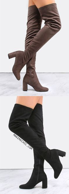 Suede Chunky Heel Thigh High Boots