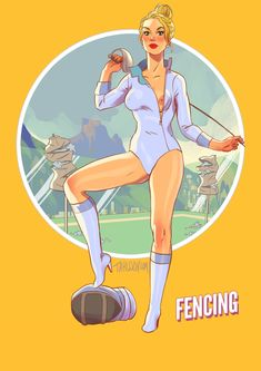 The Fencer, Comic Art Girls, Football Girls, Anime Poses Reference, Summer Olympics, Girls Characters, Illustrations, Pin Up Art, Dieselpunk