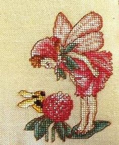 Cross stitch - fairies: Red clover fairy - Cicely Mary Barker - close-up segment (free pattern with chart)