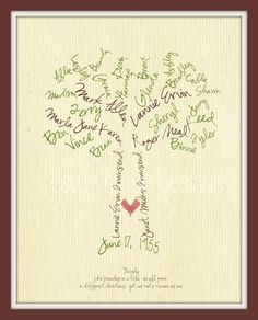 Custom Family Tree Typography Art by lesleygracedesigns, handmade gifts it yourself gifts Diy And Crafts, Arts And Crafts, Paper Crafts, Tree Crafts, Craft Gifts, Diy Gifts, Holiday Gifts, Christmas Gifts, Family Holiday