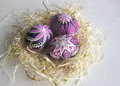 set of 3 - Pink Black pysanky, chicken egg shell hand painted. Ukrainian Easter egg, decorated egg batik style - etsy.com