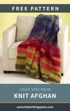 Add a splash of vivid colors to your interior decor and make this Light Spectrum Knit Afghan. This stunning piece is also perfect for a housewarming gift idea. The pattern is ideal for beginner knitters to tackle. | Discover over 5,500 free knitting patterns at theknittingspace.com All Free Knitting, Winter Knitting Patterns, Dishcloth Knitting Patterns, Knitted Afghans, Knitting For Beginners, Knitted Blankets, Summer Knitting Projects, Easy Knit Blanket, Spectrum